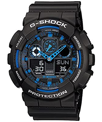 Casio G-Shock GA100-1A2 Ana-Digi Speed Indicator Black Dial Men's Watch by Casio