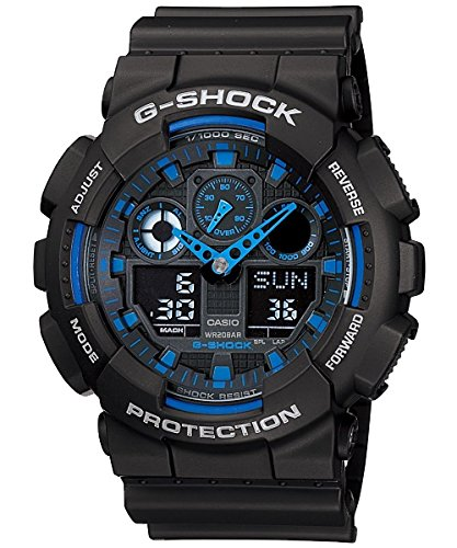 Casio G-Shock GA100-1A2 Ana-Digi Speed Indicator Black Dial Men's Watch ()