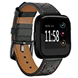 Elobeth for Fitbit Versa Classic Leather Accessory Band for Women Men,Genuine Leather Replacement Bracele Wrist Watch Band for Fitbit Versa Fitness Smart Watch (Black)