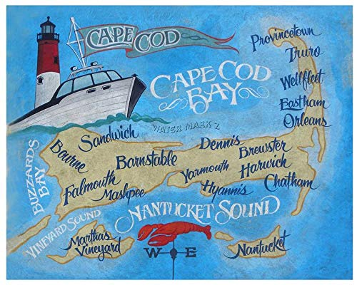 Cape Cod MA retro map Print from an original hand painted and lettered sign. Massachusetts beach House decor, Cape Cod, Kitchen wall hanging