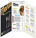 24 Menu Covers 5.5'' Wide x 8.5'' Tall • 100% USA-MADE Commercial Quality • FoldOut Style SideOpen 3 Pocket - 6 View. All Clear Vinyl ACV-300-5.5X8.5. SEE MORE: Type MenuCoverMan in Amazon search.