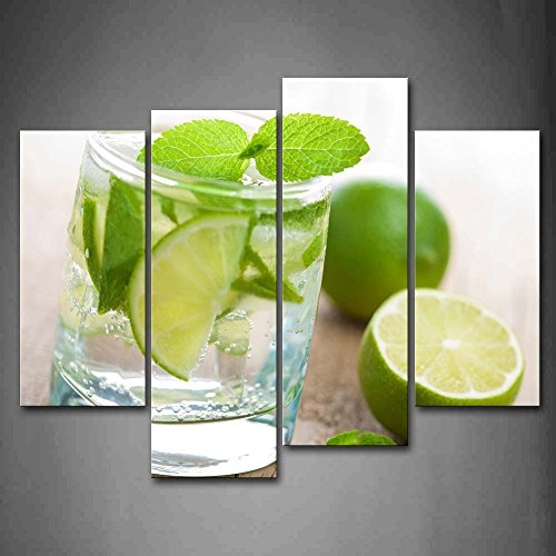 First Wall Art - Lime With Green Leaf In Cup Wall Art Painting