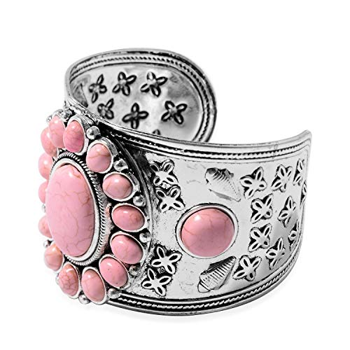 Stainless-Steel-Silvertone-Oval-Pink-Howlite-Flower-Statement-Cuff-Earrings-Pendant-Necklace-Jewelry-Set-for-Women-Gift