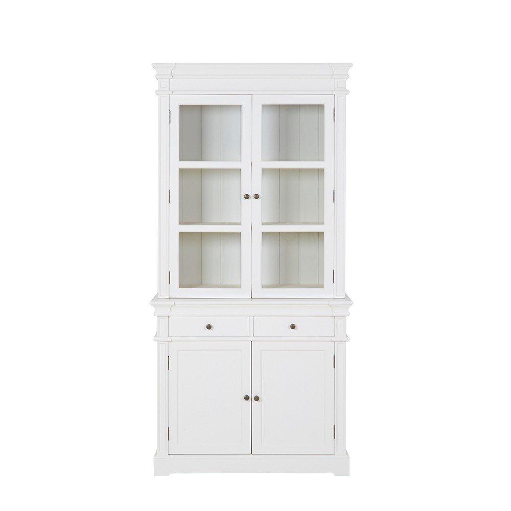 Vitrinenschrank mit 4 Türen und 2 Schüben Holz weiß 98x200x41cm - Modell Cremant