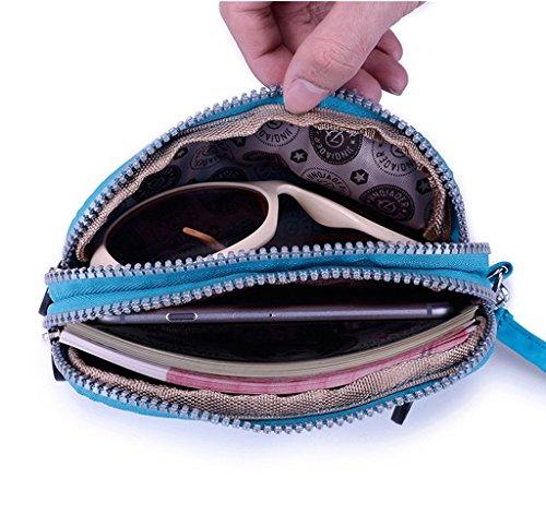 Tiny Chou doppio strato e portamonete con cerniera-Braccialetto in Nylon impermeabile, frizione-Borsetta custodia per cellulare Blu (Azzurro)