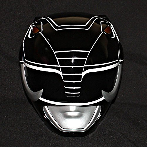 1:1 Halloween Costume Cosplay Mighty Morphin Power Ranger Helmet Mask Black PR15 (Power Rangers Helmet)