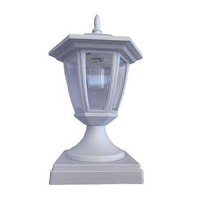 "Exquisite Selebrity Solar White Hexagon Cap SMD White LED Light for 4""x4"" 5""x5"" 6""x6"" PVC & Wood Post Black or White (2 Pack 4X4 White)"