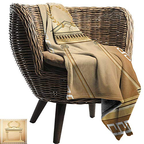 (Sillgt Knee Blanket Toga Party Antique Temple with Roman Olive Branch and Greek Architecture Motif Lightweight Bed or Couch Blanket 84