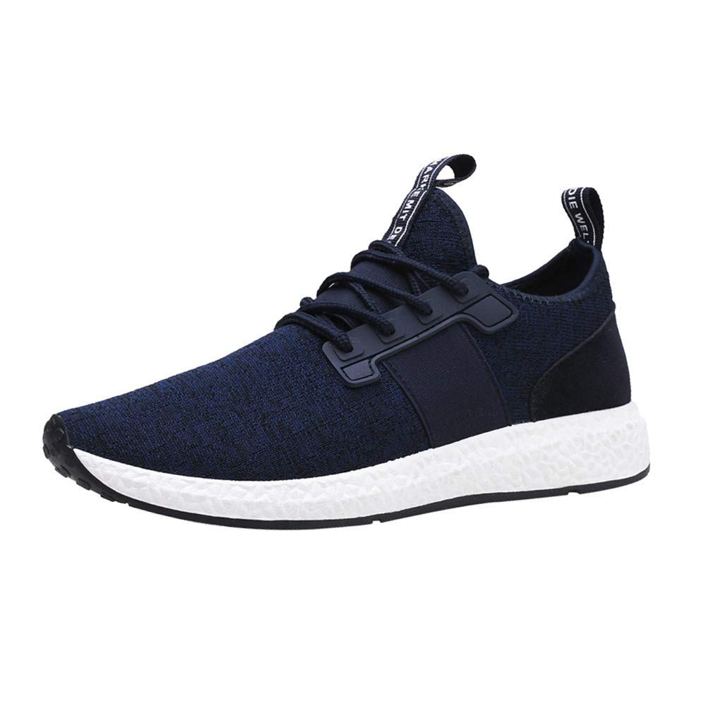 Men Fashion Solid Color Casual Breathable Soft Mesh Cross Tied Shoes Running Sneakers Blue by Rmeioel