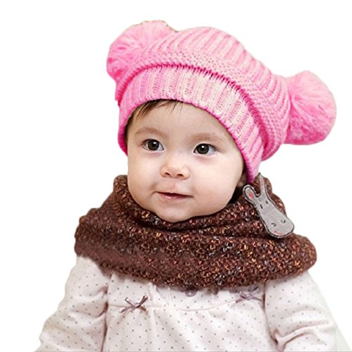 Fullkang Cute Baby Kids Girl Boy Dual Balls Warm Winter Knitted Cap Hat Beanie (pink) Game Structure Hat