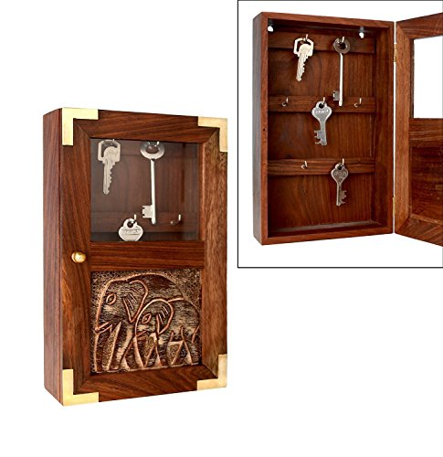 Wooden Key Rack Holder Box Cabinet Storage Container Wall Mounted With  Elephant Design Key Box,