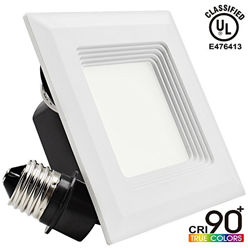 Retrofit led recessed lights square amazon 9w 4 inch high cri dimmable retrofit led recessed lighting fixture square shape 60w halogen equivalent 2700k warm white ul classified recessed ceiling aloadofball Images