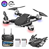 B-Qtech Drone with Camera, 1080P HD Drone for Kids & Adults & Beginners, Foldable WiFi RC Quadcopter Drone, 24 Min Long Flight Time, Live Video, Headless Mode, One Key Return