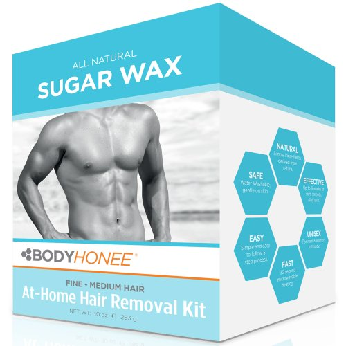 Sugar Wax Body (Hair Removal Waxing Kit Men + Women, All Natural | BodyHonee (10 Oz))