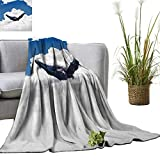 YOYI Single-Sided blanketGiant Creature of The Oceans Big White Whale Floats in Clear