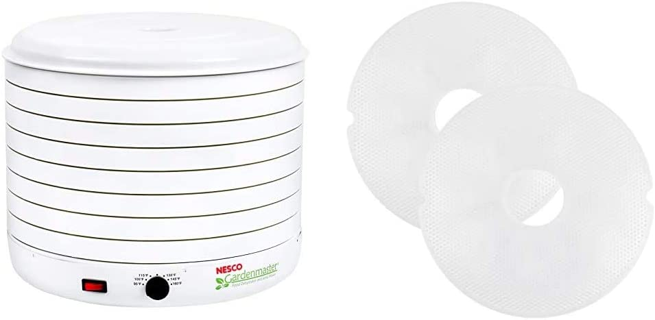 Nesco Gardenmaster 075 Food Dehydrator, 1-(Pack), White & Snackmaster Clean dehydrator screen, One Size, White