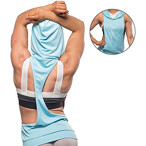 Fitness Donna Sportivo Cotone Abbigliamento Top Allenamento Allentato Cappuccio Gilet Felpa Con Blu Palestra Bozevon Canotte dItwqTT