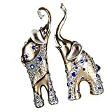 Fenteer 2 pieces Resin Lucky Wealth Collectible Animal Elephant Statue Ornament Figurine