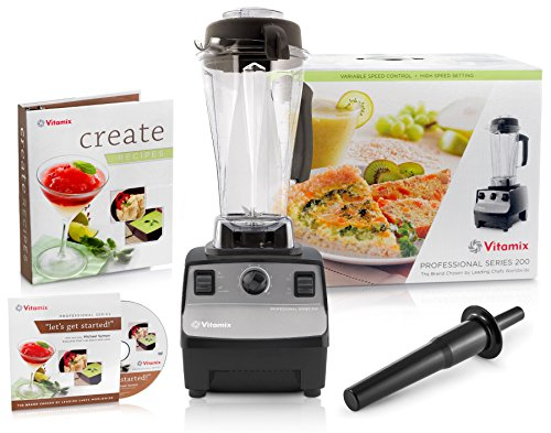 Vitamix 1723 Onyx Professional Series 200 Blender with Create Recipes Cookbook + (Dvd Onyx)