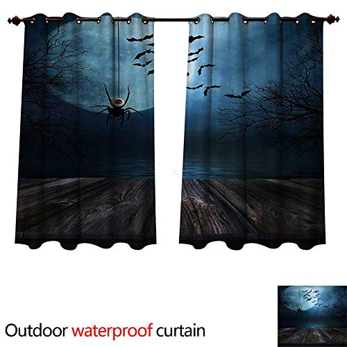 WilliamsDecor Halloween Outdoor Curtain for Patio Misty Lake Scene Rusty Wooden Deck Spider Eyeball and Bats with Ominous Skyline W96 x L72(245cm x -