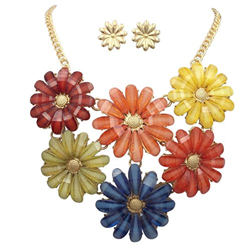 Multi Color Daisy Flower Large Bib Necklace & Stud Post Earring Set (6 Cluster Gold Tone)
