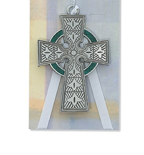 MV001 Pewter Celtic Cross with White Ribbon.
