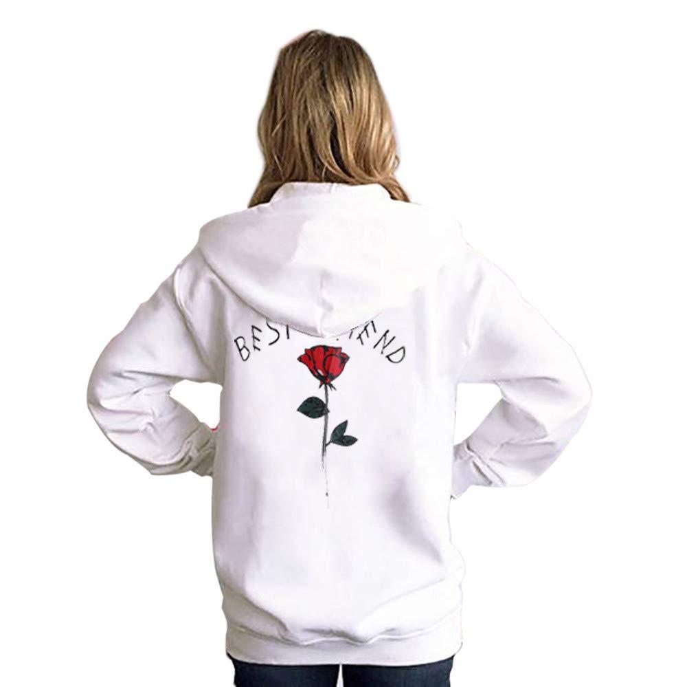 Lelili Women Girls Fashion Hoodie Best Friend Rose Printed Long Sleeve Drawstring Hooded Sweatshirt Casual Pullover Tops