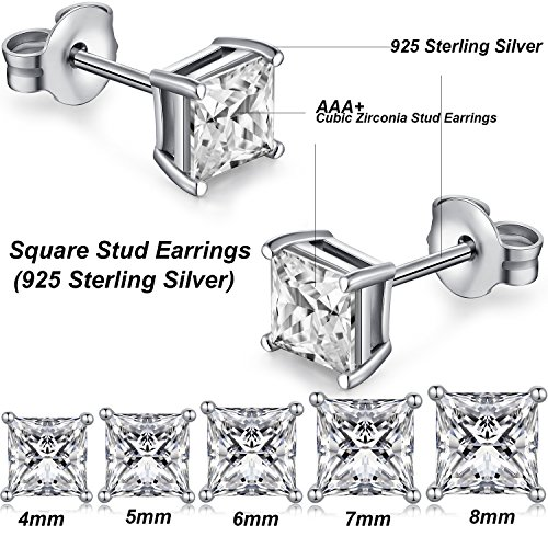 Mens Diamond Earrings Sterling Silver Square Cubic Zirconia Import