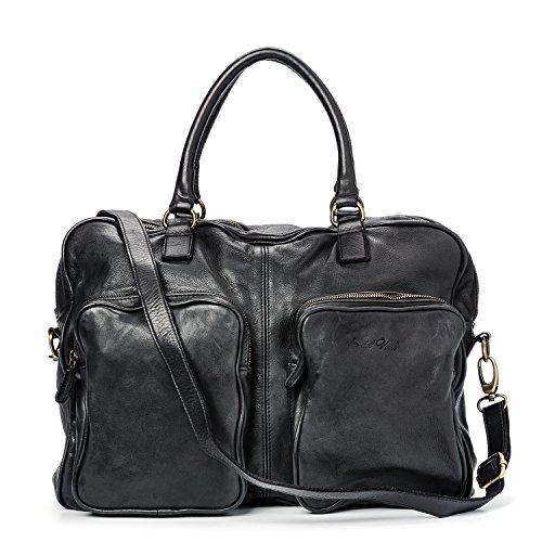 Ira del Valle, Bolso para mujer, Piel genuina, Vintage, Modelo California, Made in Italy Negro