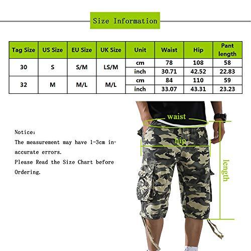 OEAK Shorts Cargo Homme Rétro Baggy Pantacourt Camouflage Outdoor Bermudas Casual Combat Pantalon Court Militaire Multi… 7