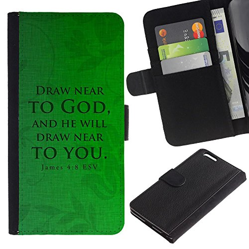 OMEGA Case / Apple Iphone 6 PLUS 5.5 / JAMES 4:8 DRAW NEAR / Cuir PU Portefeuille Coverture Shell Armure Coque Coq Cas Etui Housse Case Cover Wallet Credit Card