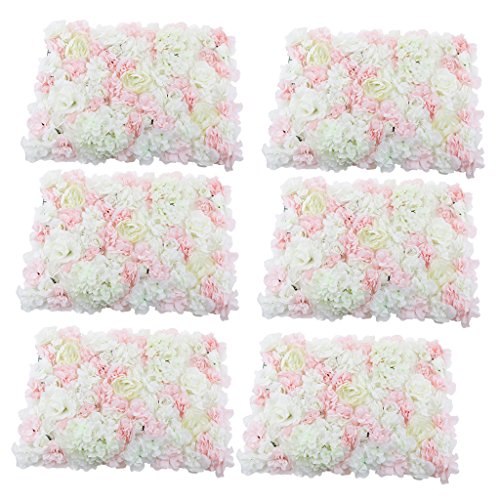 - MagiDeal 6 Pieces Artificial Flower Wall Panel Wedding Venue Background Decor Pink