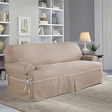 Perfect Fit Classic Twill T-Sofa Slipcover in Taupe