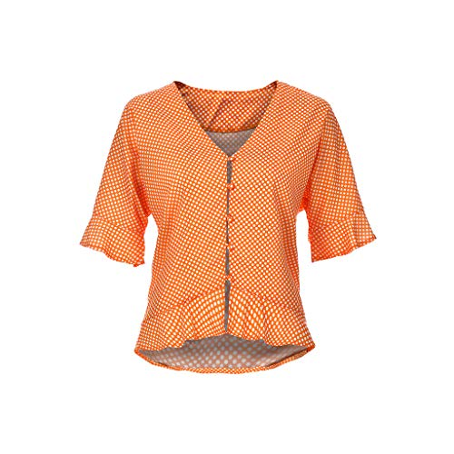 - iLUGU Women Summer Fashion Comfy Casual Camis Short Sleeve Ruffle Button V Neck Polka Down Dot Tops Flare Orange