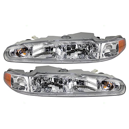 Driver and Passenger Headlights Headlamps Replacement for Oldsmobile 19244693 (Oldsmobile Intrigue New Headlight Headlamp)