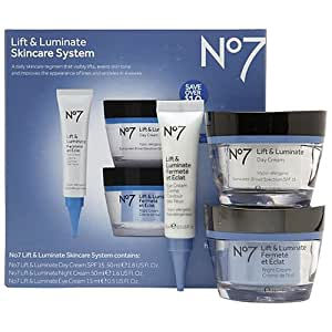 Boots No7 Lift and Luminate 3 Piece Skincare System Includes Eye Cream, Day Cream and Night Cream