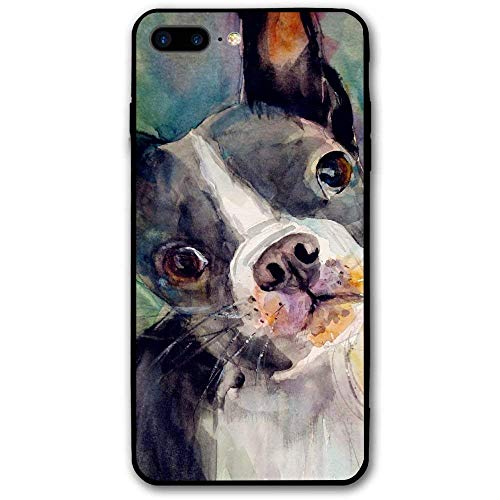 CHUFZSD Watercolor Work Boston Terrier iPhone 7/8 Plus Case Soft Flexible TPU Anti Scratch Shock-Proof Protective Shell Compatible Phone Case Cover (5.5 Inch)