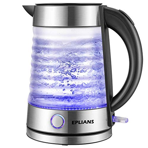Electric Kettle, EPLIANS LED-Lit Fast Water Boiler, Quick-Boil Glass Tea Kettle with Atmospheric Illumination, 1500 W Enclosed Heating Element and Cool Touch Handle, 1.7 L (Silver)