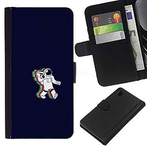 Sony Xperia Z1 L39 - Dibujo PU billetera de cuero Funda Case Caso de la piel de la bolsa protectora Para (Rainbow Astronaut Cosmonaut)