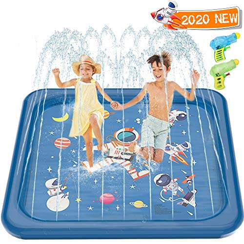 Minto Toy Sprinkler for Kids, 68'' Splash Pad Play Mat Water Toys for Children Toddlers Baby Kids Outdoor Summer Inflatable Wading Swimming Pool