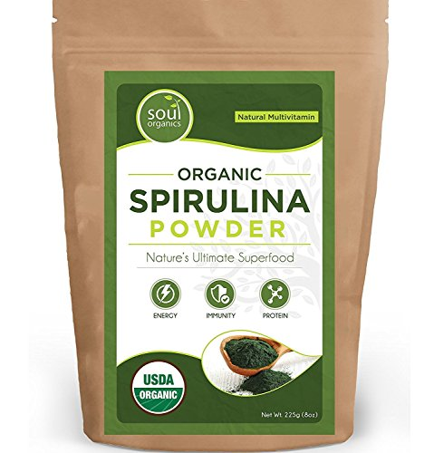 5 Pack Spirulina Powder Organic Raw – Spirulina Superfood Powder, USDA Certified More Nutrition than chlorella or blue hawaiian spirulina more Pure than Capsules or Pills, Vegan bulk supplement (5) by Soul Organics