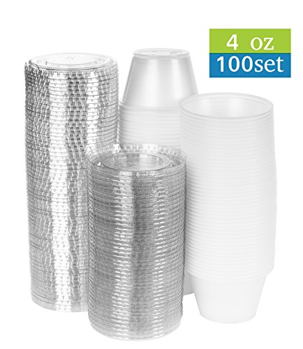 4 oz clear plastic cups with lids, set of 100