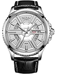 BUREI Mens Stainless Steel Automatic Skeleton Wrist Watch with Black Leather Strap and Quartz Dial (silver)
