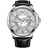 BUREI Men's Stainless Steel Automatic Skeleton Wrist Watch with Black Leather Strap and Quartz Dial (Silver)