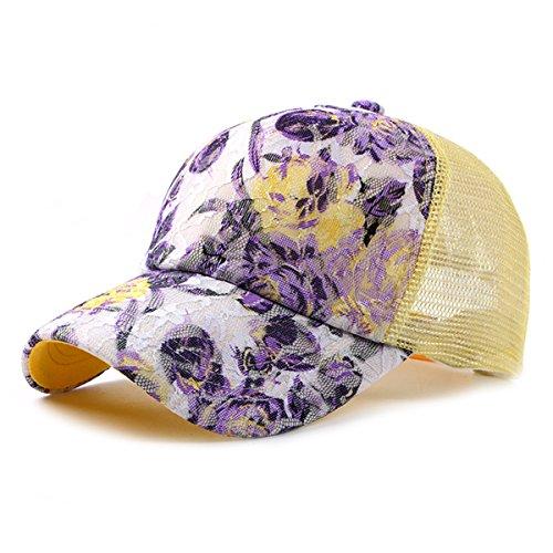 - ZLS Womens Mesh Lace Flower Print Sunhat Trucker Baseball Cap Yellow