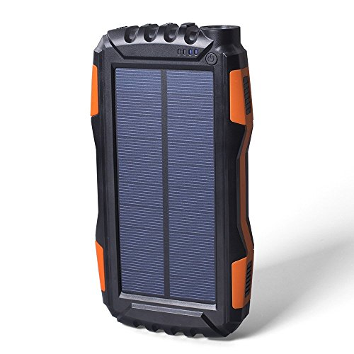 Solar Power Bank [Water/Shock/Dustproof] 25000mAh-Dual USB Portable Solar Power Charger for iPhone, Samsung, Windows and Android phones, GPS, iPads, and Cameras with bonus Keychain (Orange/Black)