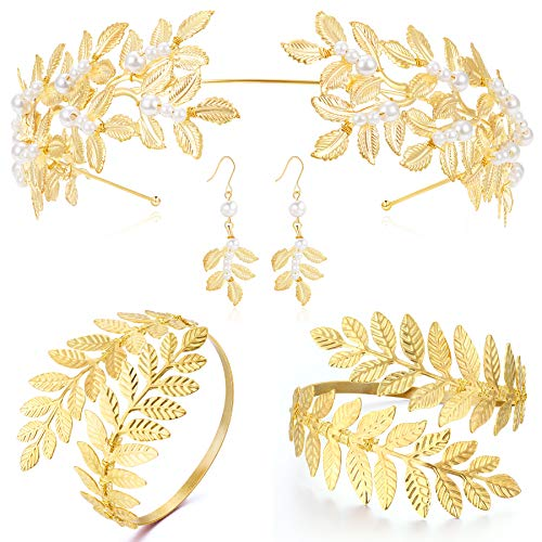 Coucoland Grecian Goddess Costume Accessories Womens Leaf Headband Coil Bracelet (Set-1)