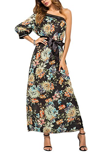 Womens Chiffon Floral Maxi Dress One Shoulder Bohemian Beach Dress Evening Dress (Black, XL(Bust: - Chiffon Gown Printed
