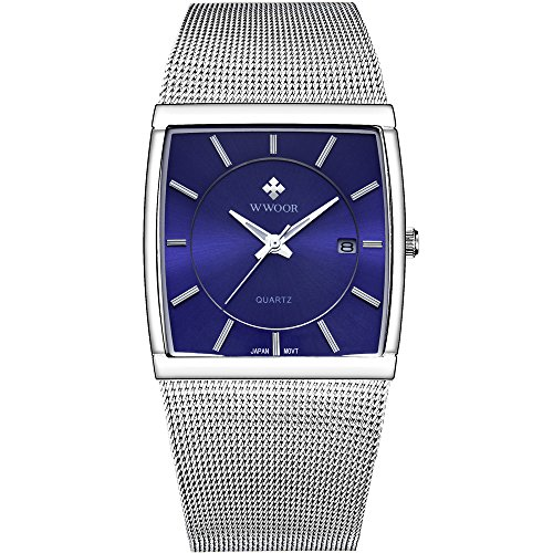 Mens Square Dress Watches Analog Quartz Date Waterproof Luminous Slim Silver Stainless Steel Mesh Band Wrist Watch Blue Dial by WWOOR