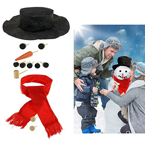 Homga Snowman Making Kit - Snowman Decorations Includes Hat Scarf Carrot-Nose Tobacco Pipe and Black Dots for Eyes Mouth Buttons (Small) -